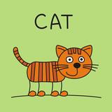 Funny kitten cat in cartoon style