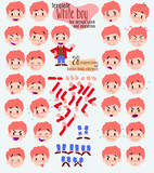 White boy in jeans. Twenty eight expressions and basics body elements, template for design work and animation. Vector illustration to Isolated and funny cartoon character.