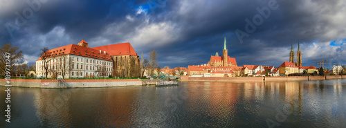 obraz PCV Cathedral Island in Wroclaw, Poland, panoramic image