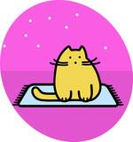 Сartoon cat is sitting on the carpet. Simple modern flat style vector line illustration.