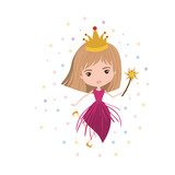 princess fairy with crown and magic wand and colorful stars on white background vector illustration