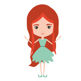girly fairy without wings and redhead in green dress on white background vector illustration