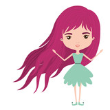 girly fairy without wings and magenta long hair in green dress on white background vector illustration