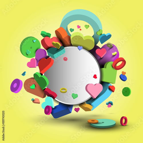 Fotobehang Abstractie Background of multi-colored hearts, on the day of St. Valentine and March 8 - 3d vector eps10