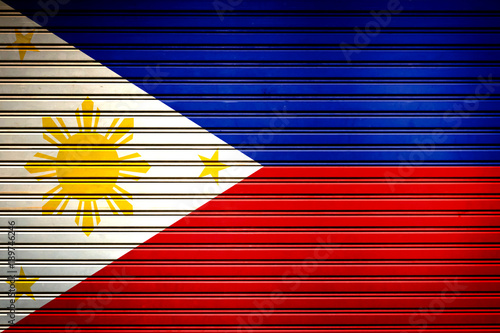 Fotobehang Rood traf. Philippines Southeast Asia Flag sign in iron garage door texture, flag background