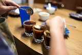 Professional coffee cupping, coffee tasting