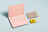 Minimal pastel workspace equipment. - 189752834