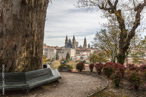 City view from Alameda park,Santiago de Compostela,Spain.