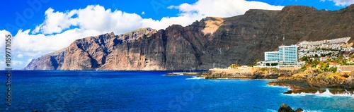 Fotobehang Freesurf Tenerife holidays and landmarks - imressive rocks of Los Gigantes