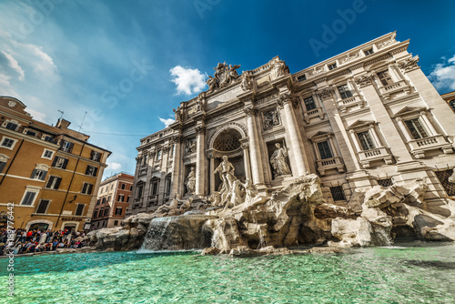 World Famous Trevi fountain on a clear day
