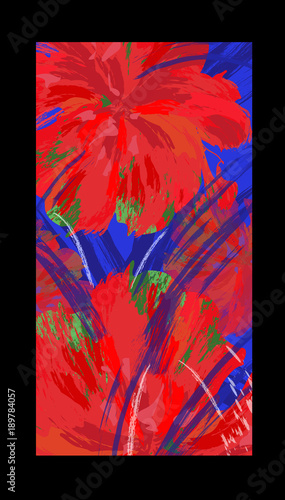 Foto op Plexiglas Art Studio Abstract color image with hibiscus