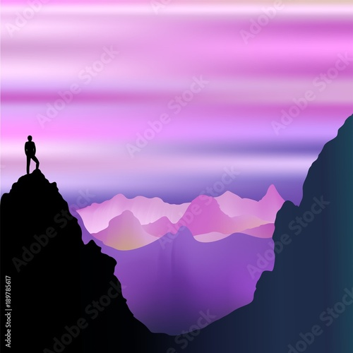 Foto op Canvas Draw Peaceful Solitude on Misty Purple Mountains