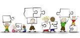 Strichmännchen mit Puzzleteilen