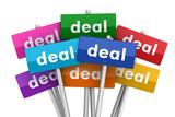 deal placards concept  3d illustration
