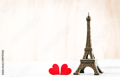 Tuinposter Eiffeltoren Eiffel tower and red hearts - Valentine`s Day concept