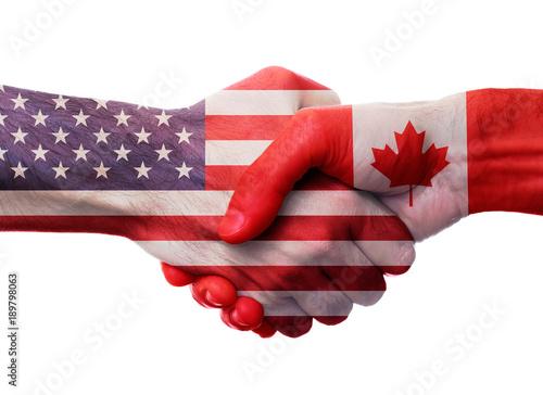 Poster Canada USA Canada Handshake