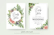 Floral Wedding Invitation elegant invite, thank you, rsvp card vector Design: garden pink, peach Rose flower, white wax, succulent, cactus plant, green Eucalyptus tender greenery, berry trendy bouquet - 189798482