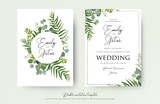 Wedding Invitation, floral invite thank you, rsvp modern card Design: green tropical palm leaf greenery eucalyptus branches decorative wreath & frame pattern. Vector elegant watercolor rustic template - 189798491