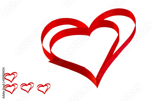 Fototapeta isolated heart of red ribbon on a white background for the Valentine