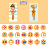set of flat vector icons for vacation on beach with two sunbathing girls - 189805467