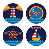 set of nautical vector round stickers for kids - 189805481