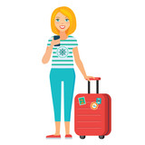 vector illustration of  tourist girl standing with luggage - 189806287