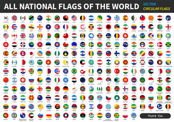 All official national flags of the world . circular design . Vector