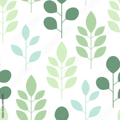 Seamless pattern of abstract trees and leaves on a white background. Vector illustration © Elena