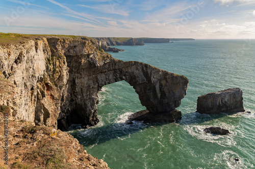 Coast at the Green Bridge of Wales near Castlemartin and Merrion in Pembrokeshire, Wales, UK
