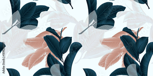 Seamless pattern, hand drawn dark green, brown and white guava leaf on sprig on grey background © munandme