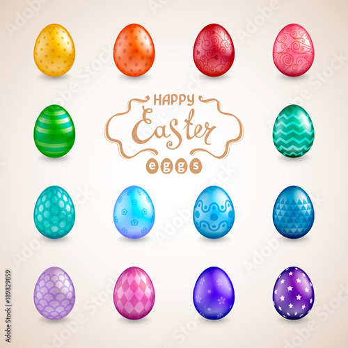 Set of 14 glossy realistic easter eggs with different colors and set of 14 glossy realistic easter eggs with different colors and patterns the words happy m4hsunfo