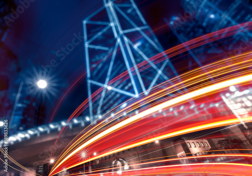 In de dag Tunnel Abstract city background with curved lighting effect