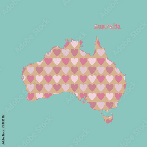 Outline map of Australia with a texture of pink and red hearts. Isolated vector illustration on blue background. - 189833816