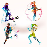Collection of vector sporty people shapes in colorful style - 189841498