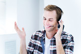 Smiling customer support phone operator