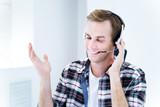 Smiling customer support phone operator
