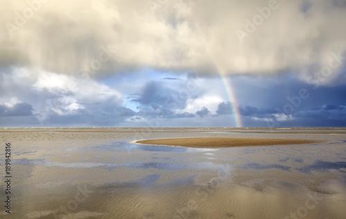 Aluminium Noordzee Rainbow on North sea coast after shower