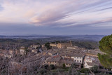 Aerial view of San Gimignano and the Church of Sant'Agostino at sunset, Siena, Tuscany, Italy - 189843428