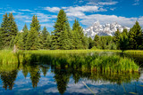 Mountains in Grand Teton National Park with reflection in Snake River - 189844466