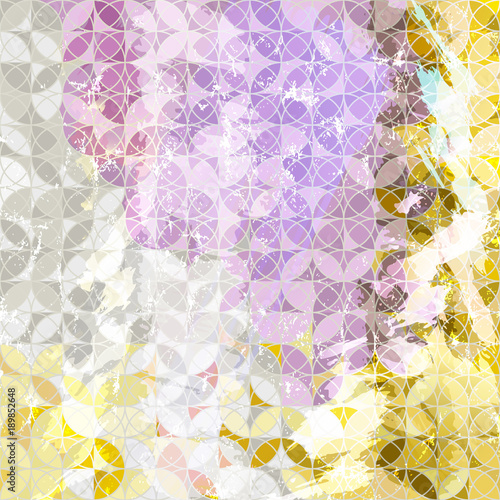 Fotobehang Abstract met Penseelstreken abstract geometric pattern background, retro/vintage style, with circles, strokes and splashesl