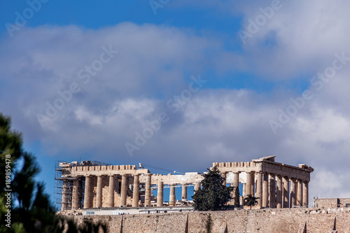 Fotobehang Athene The famous Parthenon temple, at the Acropolis of Athens, Greece, the birthplace of democracy.