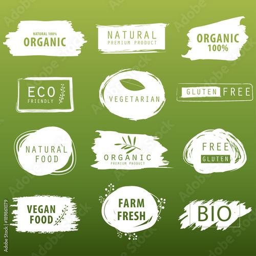 naturalny i ekologiczny zielony sztandar lub projekt etykiety. element świeżego produktu gospodarstwa.