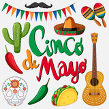 Cinco de mayo card template with mexican hat and food - 189861295
