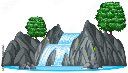 Foto op Plexiglas Grijs Waterfall with two big trees