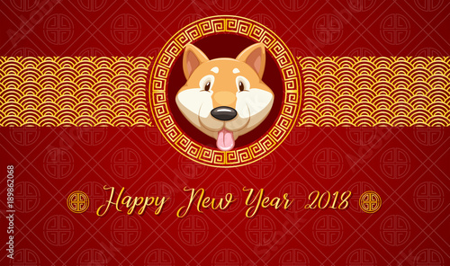 Happy new year card template with dog on red background