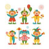 Cute clown character design set - 189865274