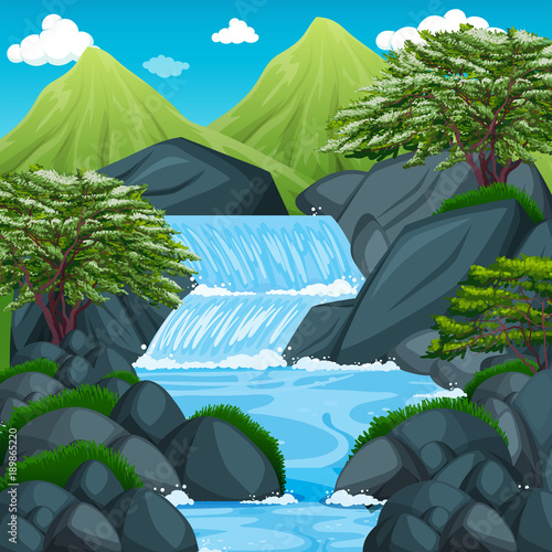 Foto op Aluminium Blauw Background scene with waterfall in the mountain
