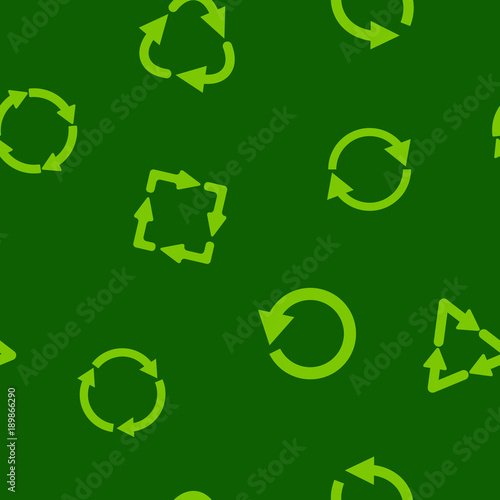 Seamless pattern with vector recycle icon for your design © drutska