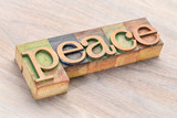 peace word abstract in wood type - 189872651
