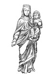 Saint Mary holding baby Jesus Christ, son of God in her hands. Christmas nativity scene for holiday. Blackwork adult flesh tattoo concept. Vector. - 189874870